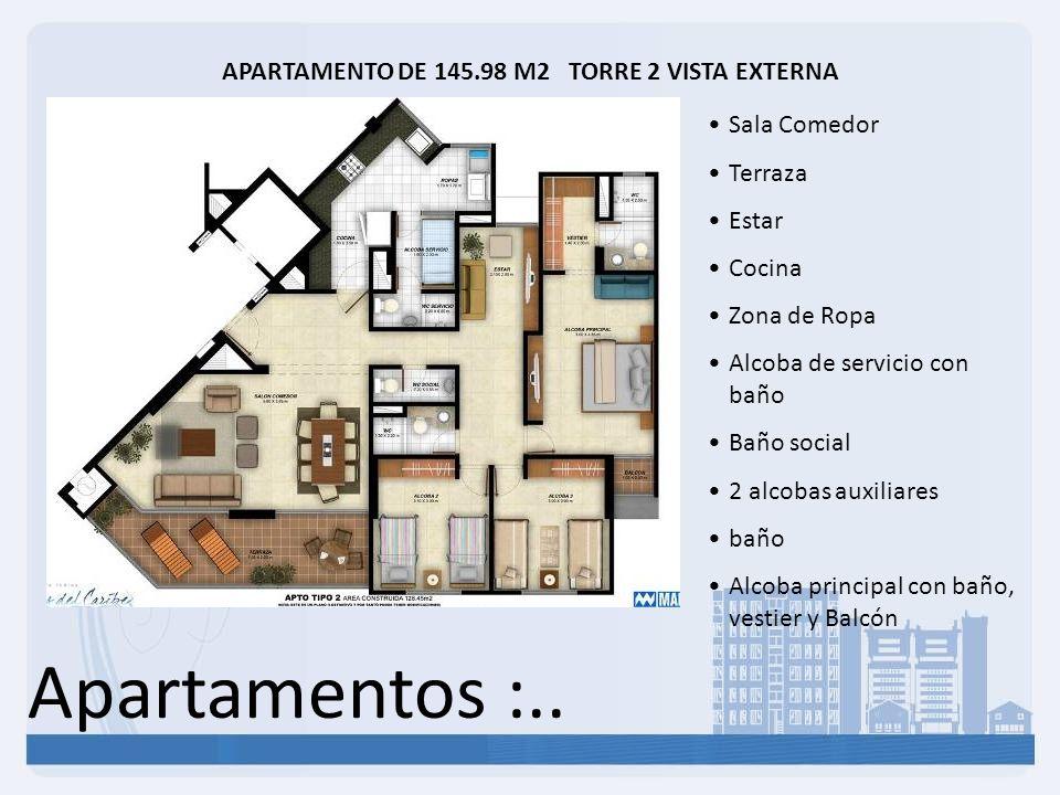 Apartamentos :.. APARTAMENTO DE 145.98 M2 TORRE 2 VISTA EXTERNA Sala Comedor Terraza Estar Cocina Zona de Ropa Alcoba de servicio con baño Baño social