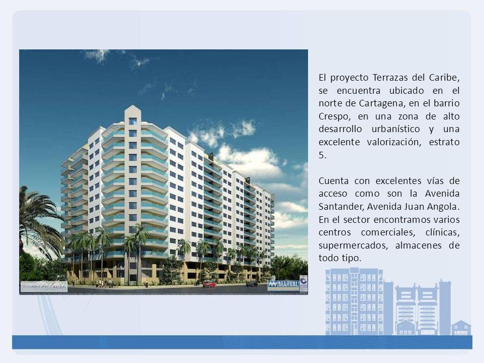 El proyecto Terrazas del Caribe, se encuentra ubicado en el norte de Cartagena, en el barrio Crespo, en una zona de alto desarrollo urbanístico y una