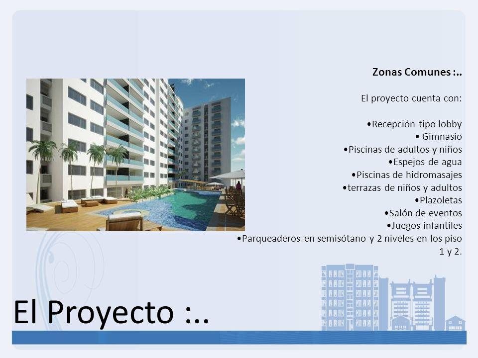 El Proyecto :.. Zonas Comunes :.. El proyecto cuenta con: Recepción tipo lobby Gimnasio Piscinas de adultos y niños Espejos de agua Piscinas de hidrom