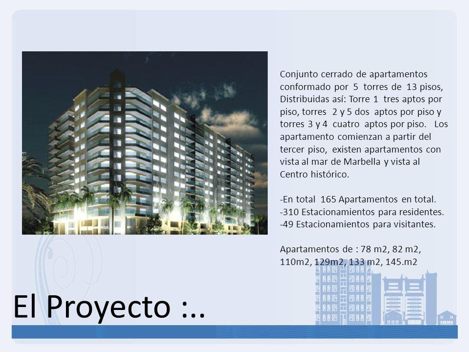 El Proyecto :.. Conjunto cerrado de apartamentos conformado por 5 torres de 13 pisos, Distribuidas así: Torre 1 tres aptos por piso, torres 2 y 5 dos