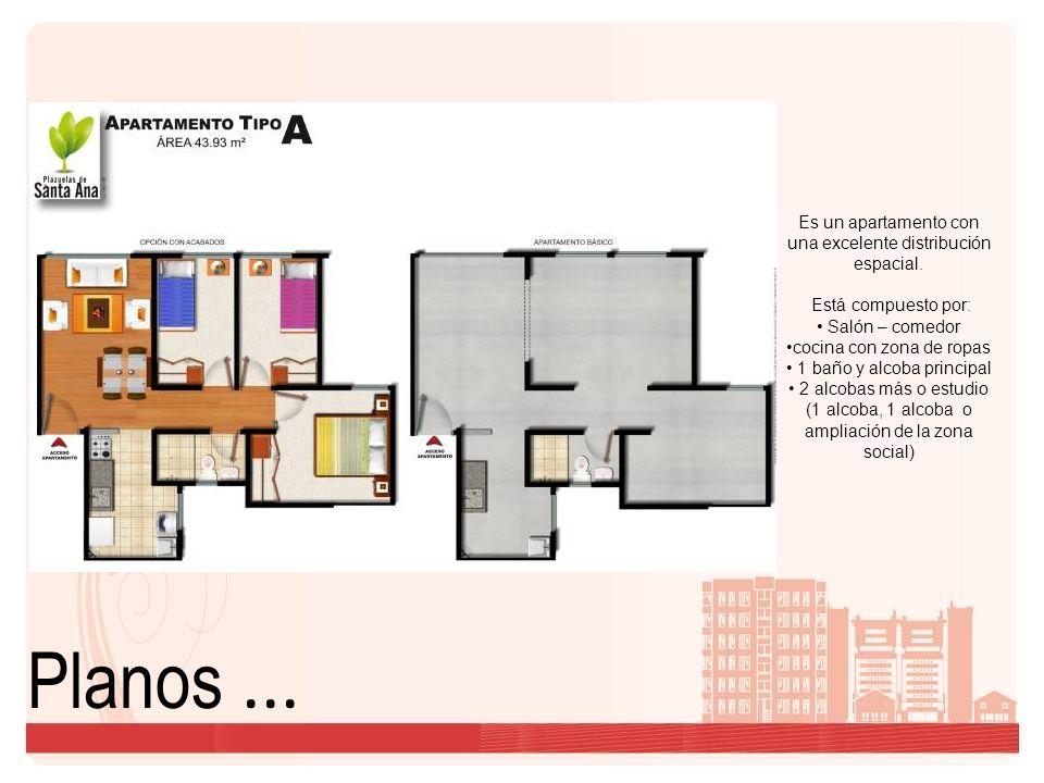 Planos... Es un apartamento con una excelente distribución espacial. Está compuesto por: Salón – comedor cocina con zona de ropas 1 baño y alcoba prin