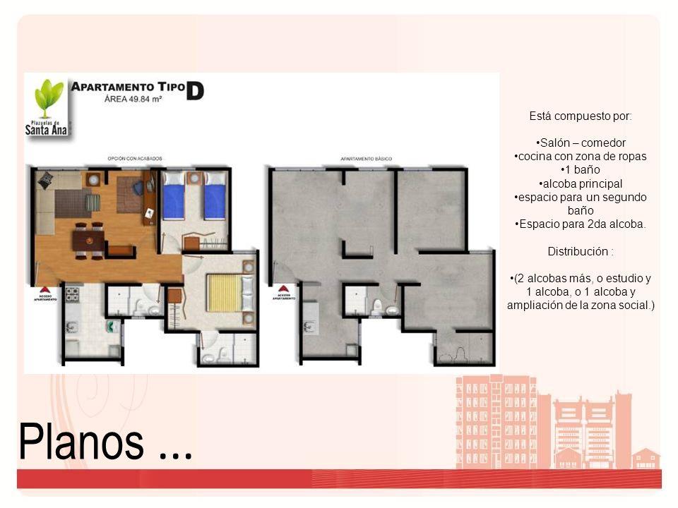 Planos... Está compuesto por: Salón – comedor cocina con zona de ropas 1 baño alcoba principal espacio para un segundo baño Espacio para 2da alcoba. D
