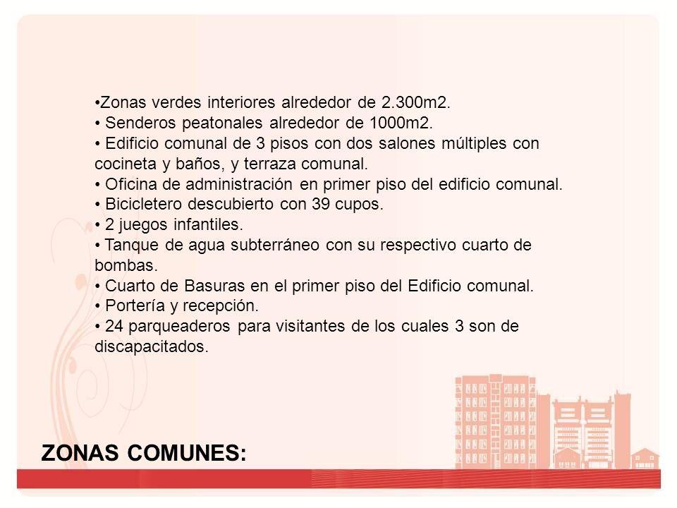 ZONAS COMUNES: Zonas verdes interiores alrededor de 2.300m2. Senderos peatonales alrededor de 1000m2. Edificio comunal de 3 pisos con dos salones múlt