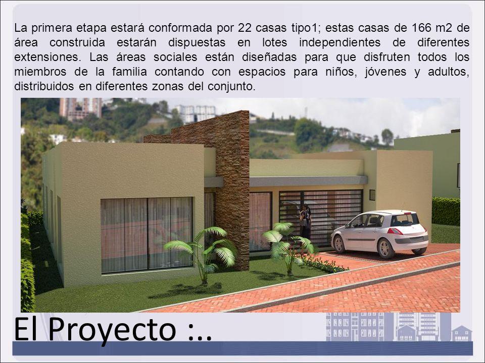 El Proyecto :.. La primera etapa estará conformada por 22 casas tipo1; estas casas de 166 m2 de área construida estarán dispuestas en lotes independie