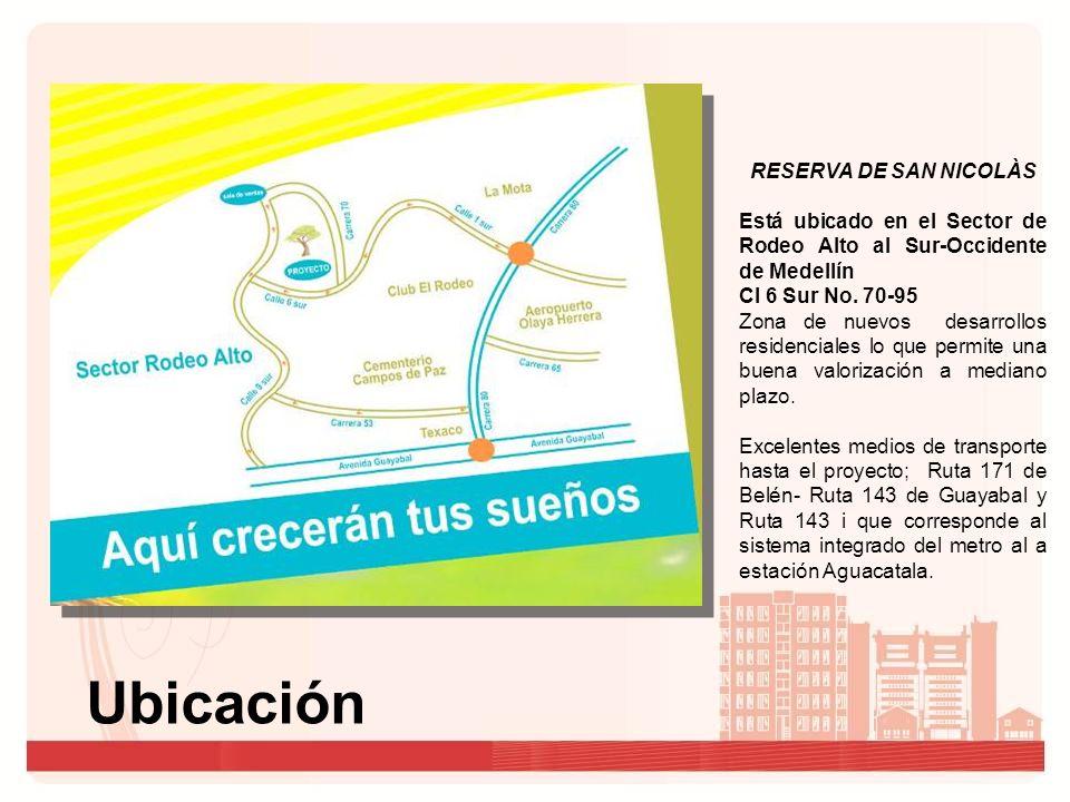 Ubicación RESERVA DE SAN NICOLÀS Está ubicado en el Sector de Rodeo Alto al Sur-Occidente de Medellín Cl 6 Sur No.