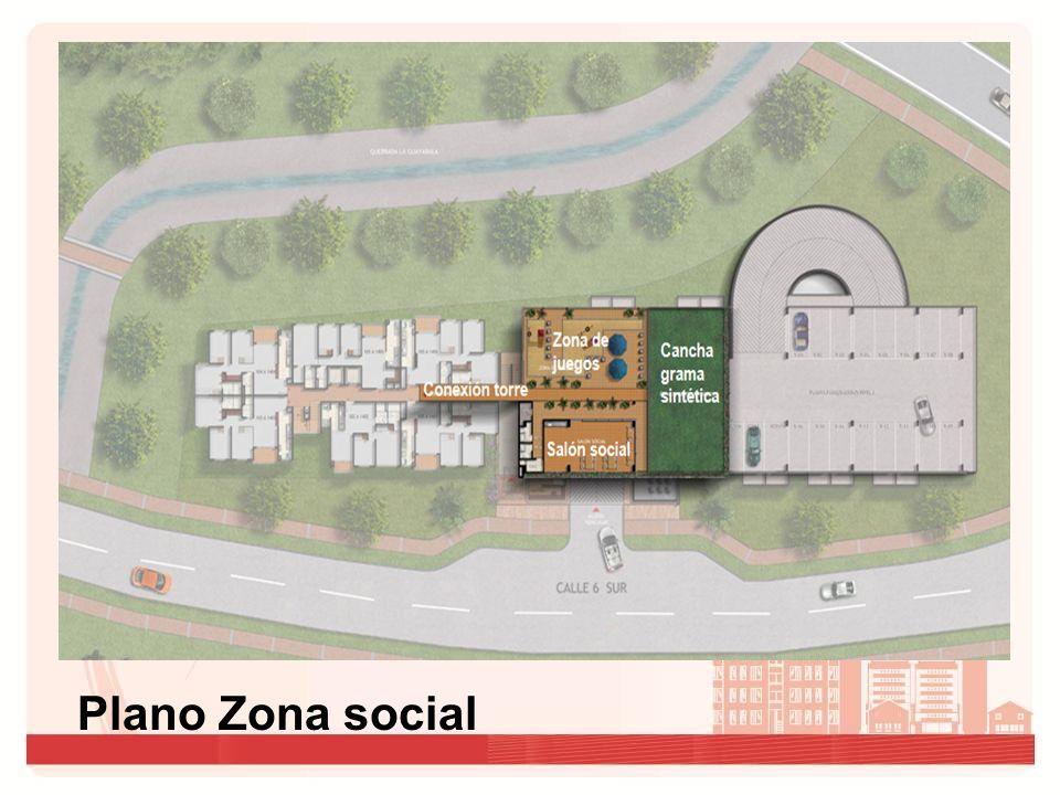 Zona de juegos Cancha grama sintética Salón social Conexión torre Plano Zona social