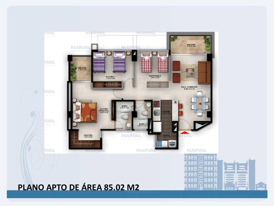 PLANO APTO DE ÁREA 85.02 M2