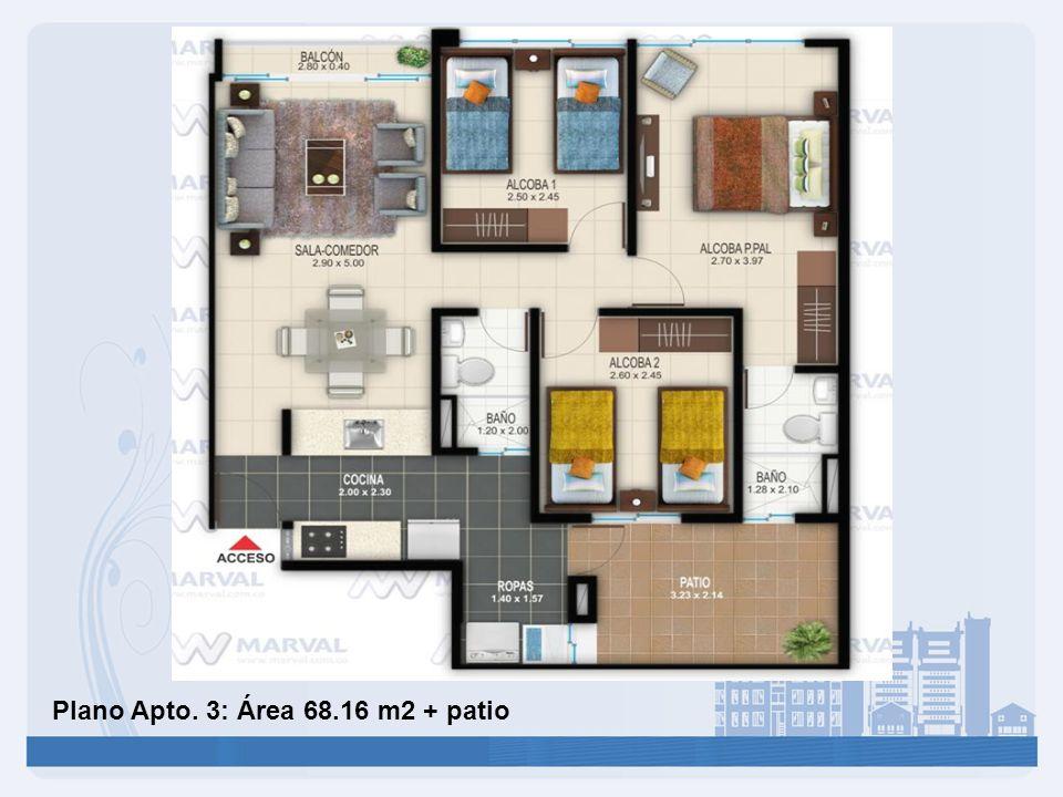 Plano Apto. 3: Área 68.16 m2 + patio