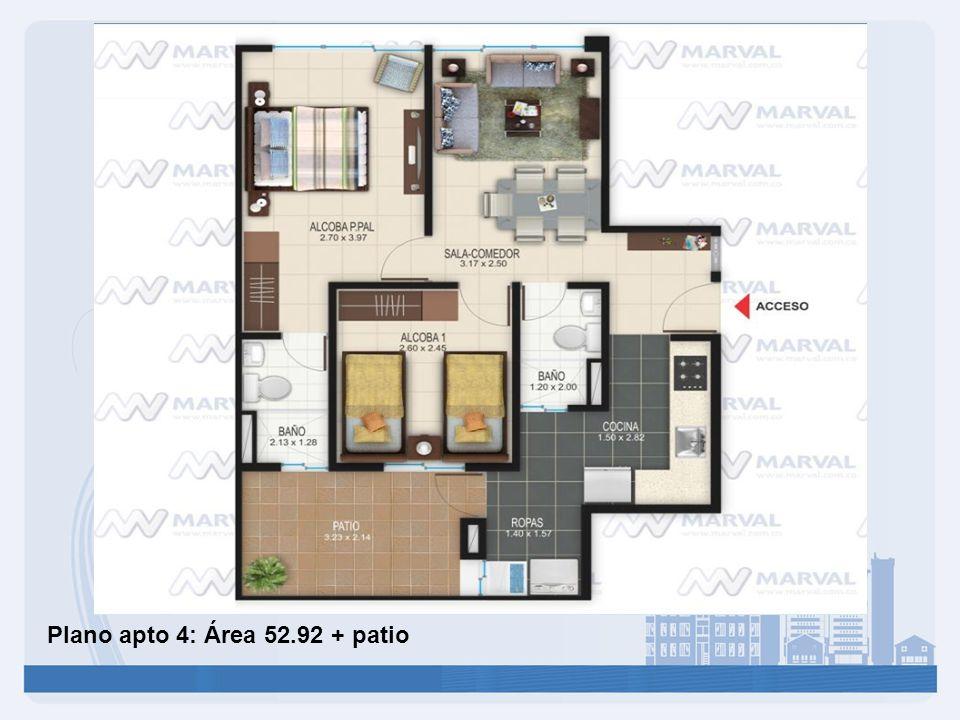 Plano apto 4: Área 52.92 + patio