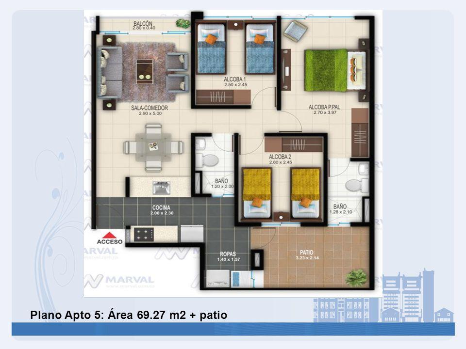 Plano Apto 5: Área 69.27 m2 + patio