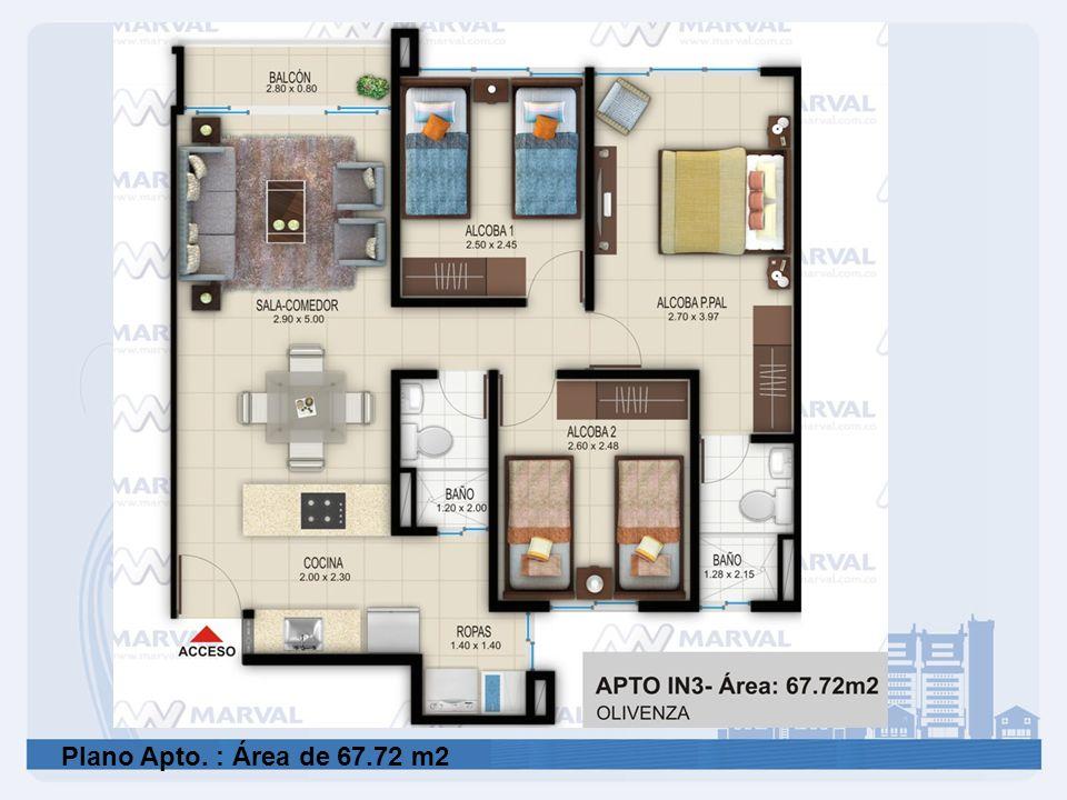 Plano Apto. : Área de 67.72 m2