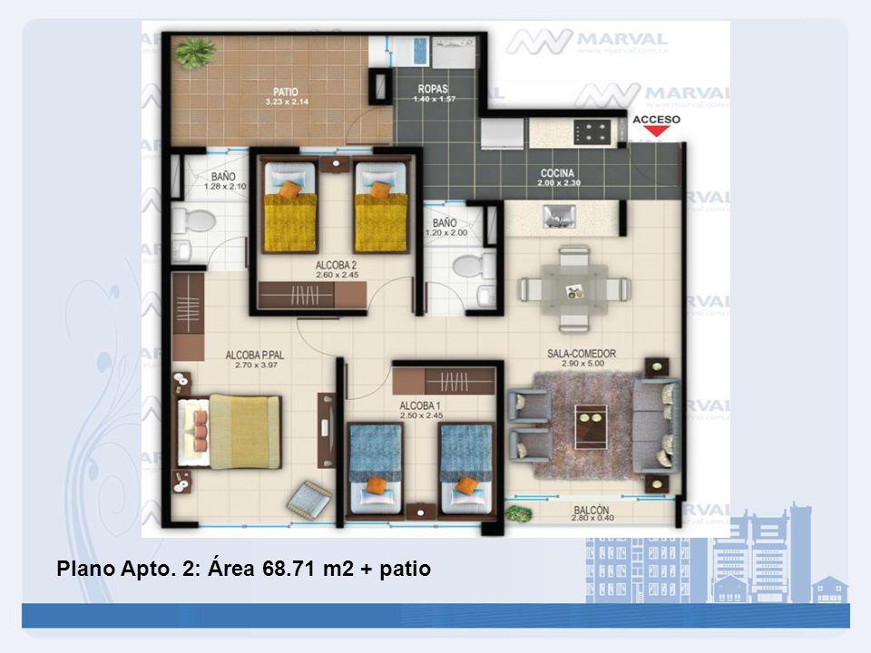 Plano Apto. 2: Área 68.71 m2 + patio