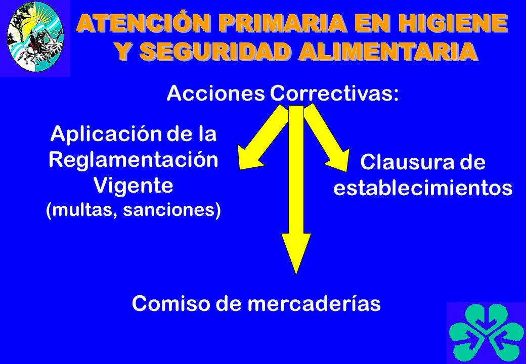 Acciones Correctivas: Aplicación de la Reglamentación Vigente (multas, sanciones) Clausura de establecimientos Comiso de mercaderías