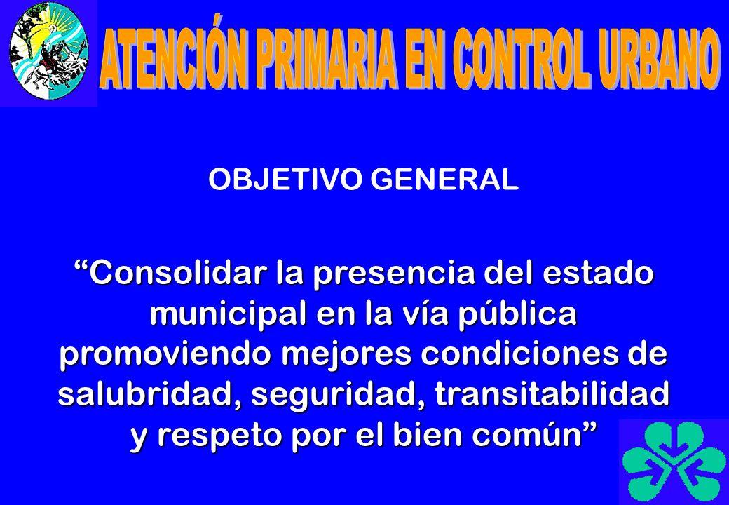 OBJETIVO GENERAL Consolidar la presencia del estado municipal en la vía pública promoviendo mejores condiciones de salubridad, seguridad, transitabili