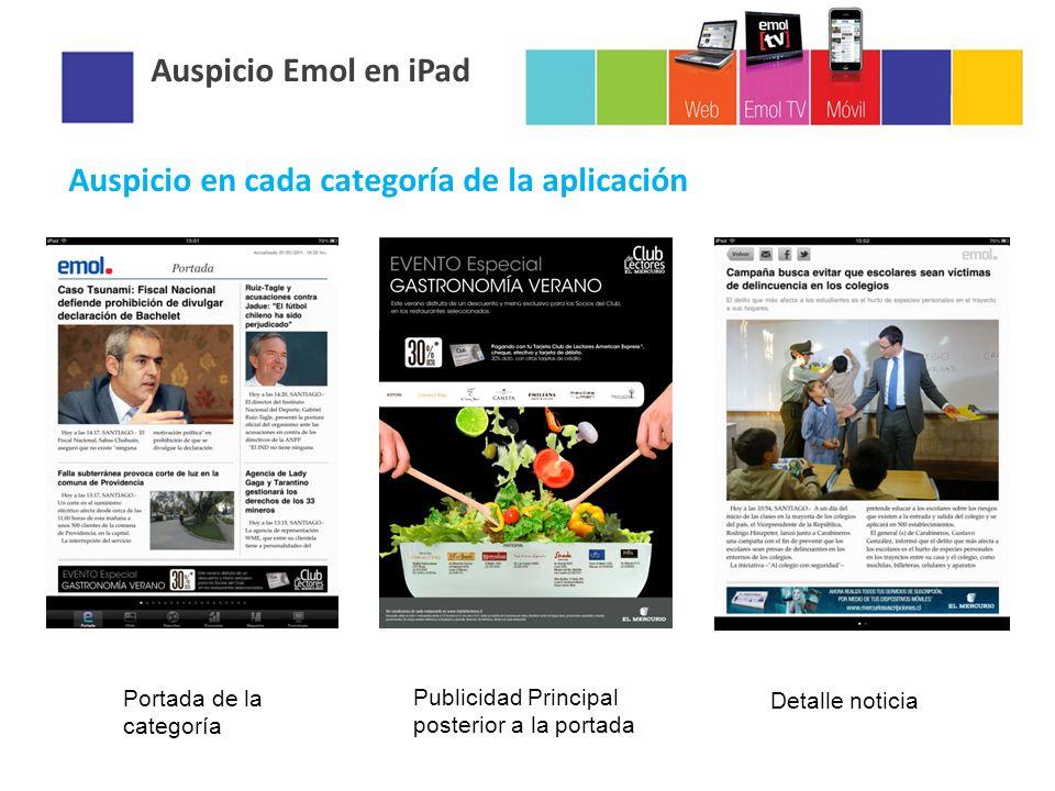 Auspicio Emol en iPad Auspicio en cada categoría de la aplicación Portada de la categoría Publicidad Principal posterior a la portada Detalle noticia