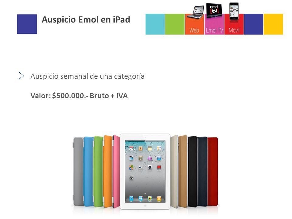 Auspicio semanal de una categoría Valor: $500.000.- Bruto + IVA Auspicio Emol en iPad