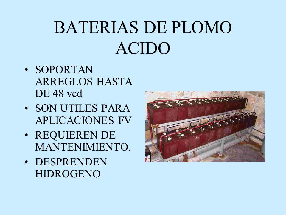 BATERIAS DE PLOMO ACIDO SOPORTAN ARREGLOS HASTA DE 48 vcd SON UTILES PARA APLICACIONES FV REQUIEREN DE MANTENIMIENTO.