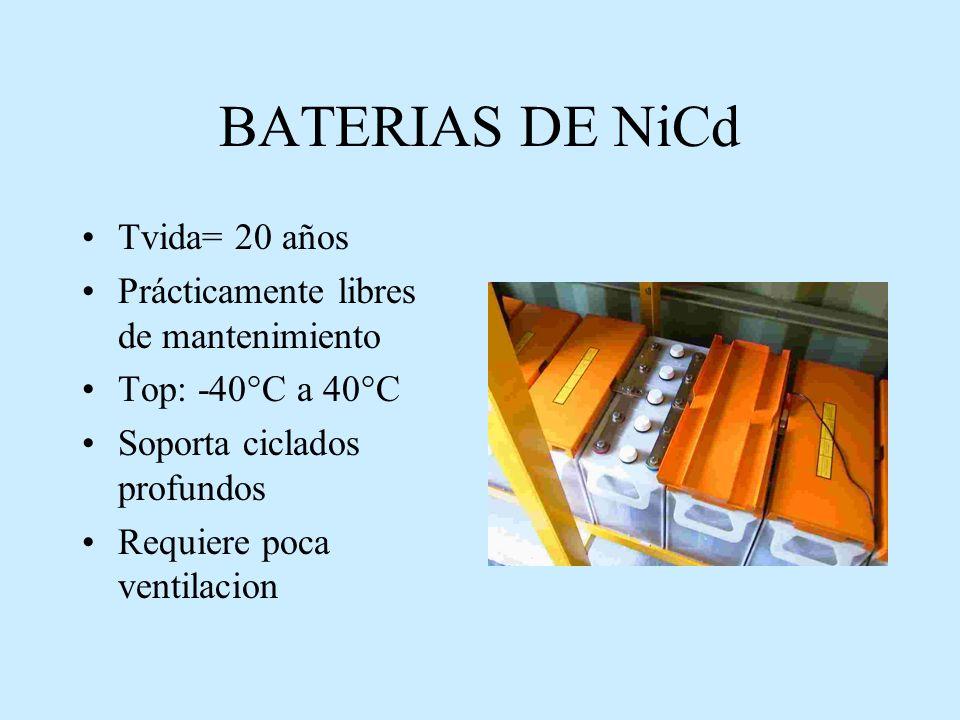 BATERIAS DE NiCd Tvida= 20 años Prácticamente libres de mantenimiento Top: -40°C a 40°C Soporta ciclados profundos Requiere poca ventilacion