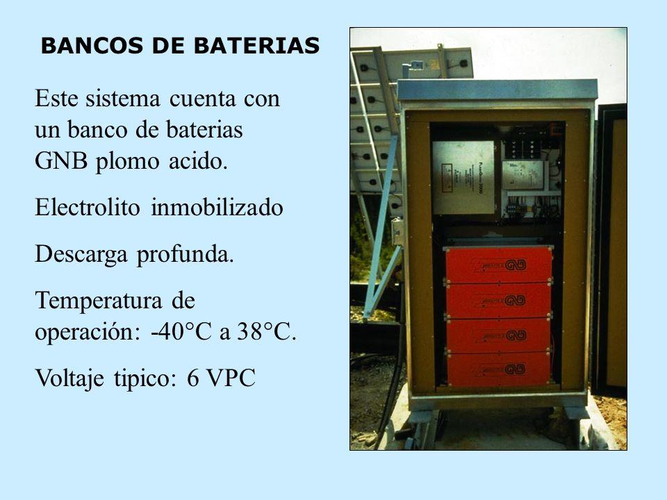 BANCOS DE BATERIAS Este sistema cuenta con un banco de baterias GNB plomo acido.