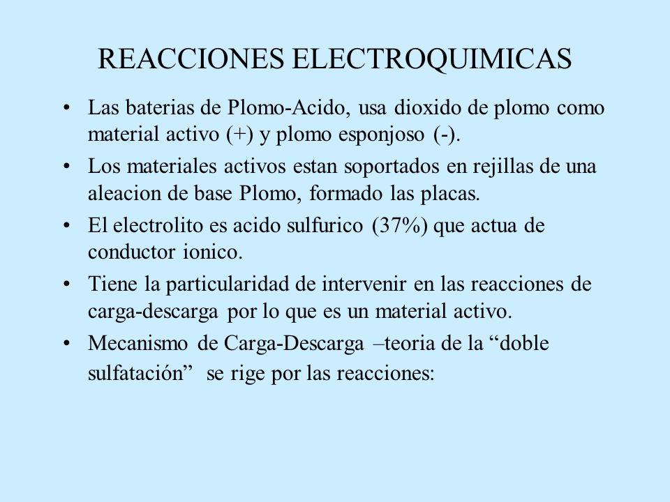 REACCIONES ELECTROQUIMICAS Las baterias de Plomo-Acido, usa dioxido de plomo como material activo (+) y plomo esponjoso (-).