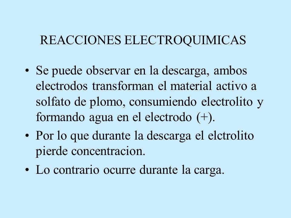 Se puede observar en la descarga, ambos electrodos transforman el material activo a solfato de plomo, consumiendo electrolito y formando agua en el electrodo (+).