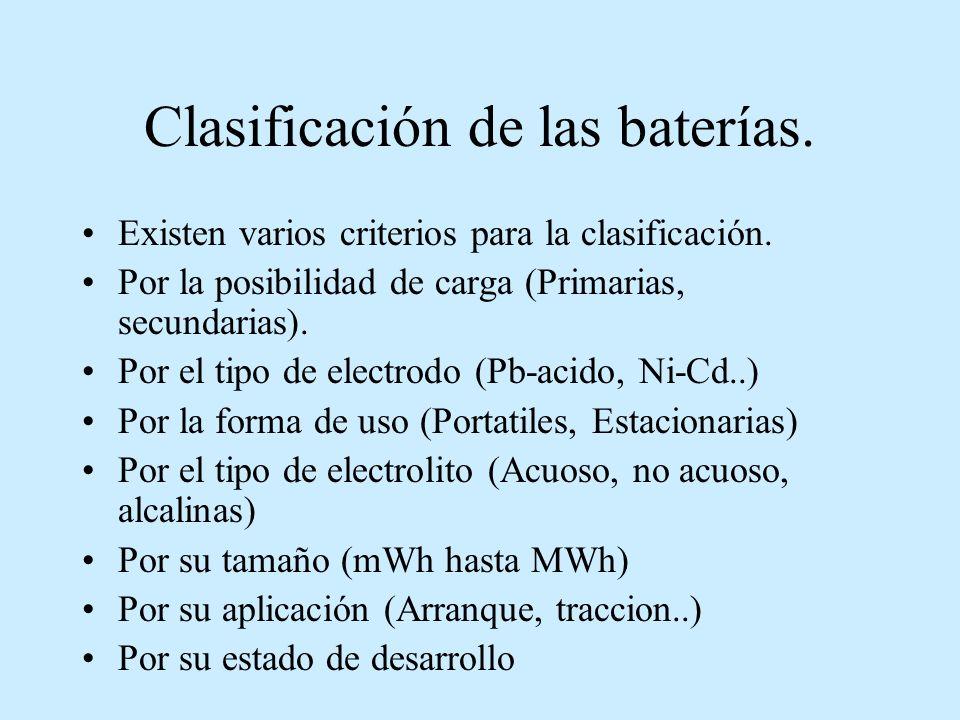 Clasificación de las baterías.Existen varios criterios para la clasificación.