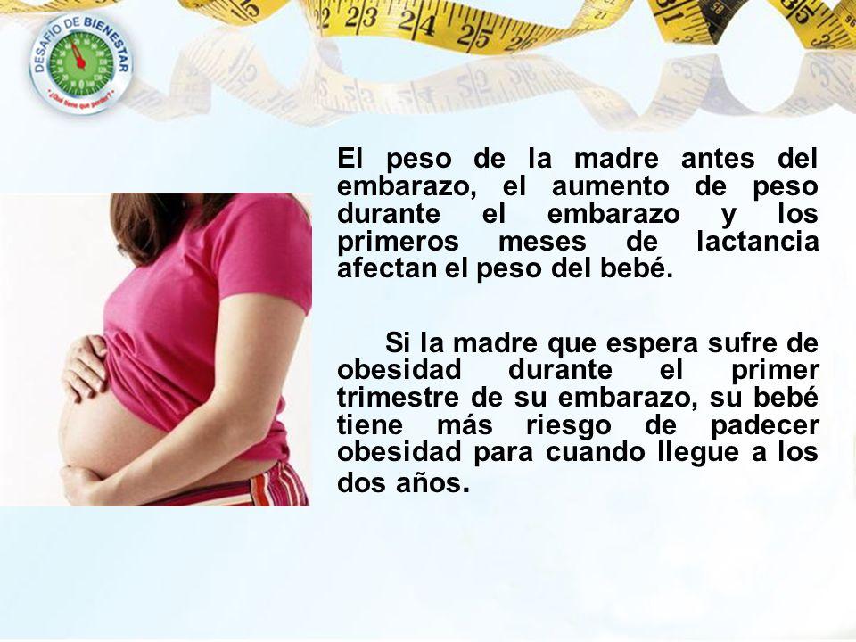 El peso de la madre antes del embarazo, el aumento de peso durante el embarazo y los primeros meses de lactancia afectan el peso del bebé. Si la madre
