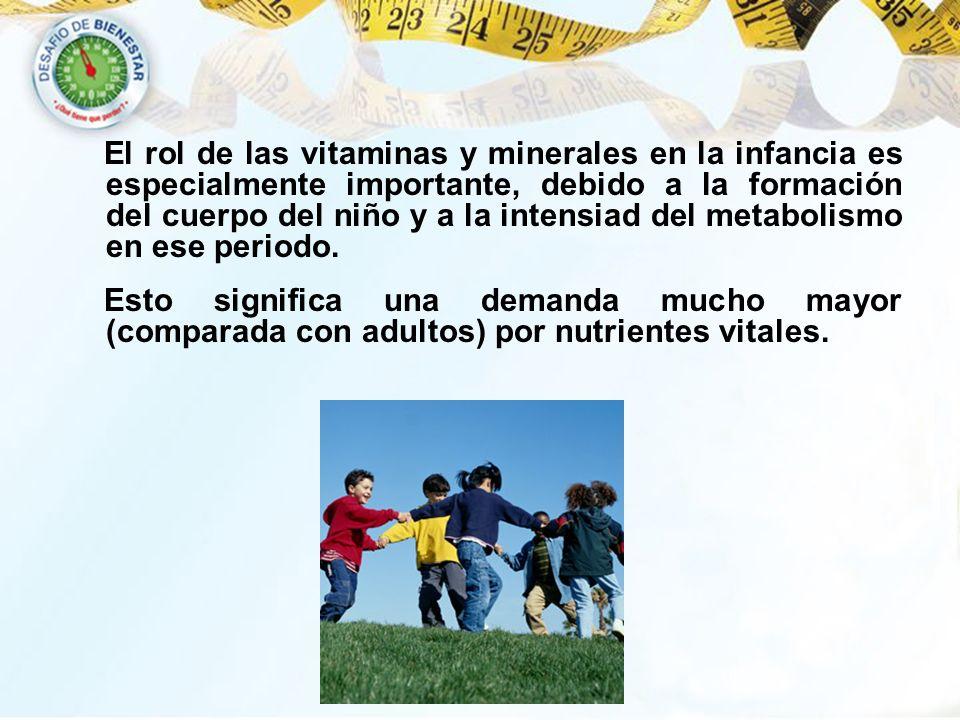 El rol de las vitaminas y minerales en la infancia es especialmente importante, debido a la formación del cuerpo del niño y a la intensiad del metabol