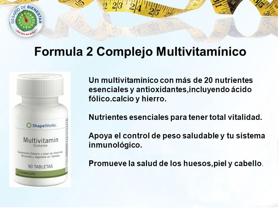 Formula 2 Complejo Multivitamínico Un multivitamínico con más de 20 nutrientes esenciales y antioxidantes,incluyendo ácido fólico.calcio y hierro. Nut