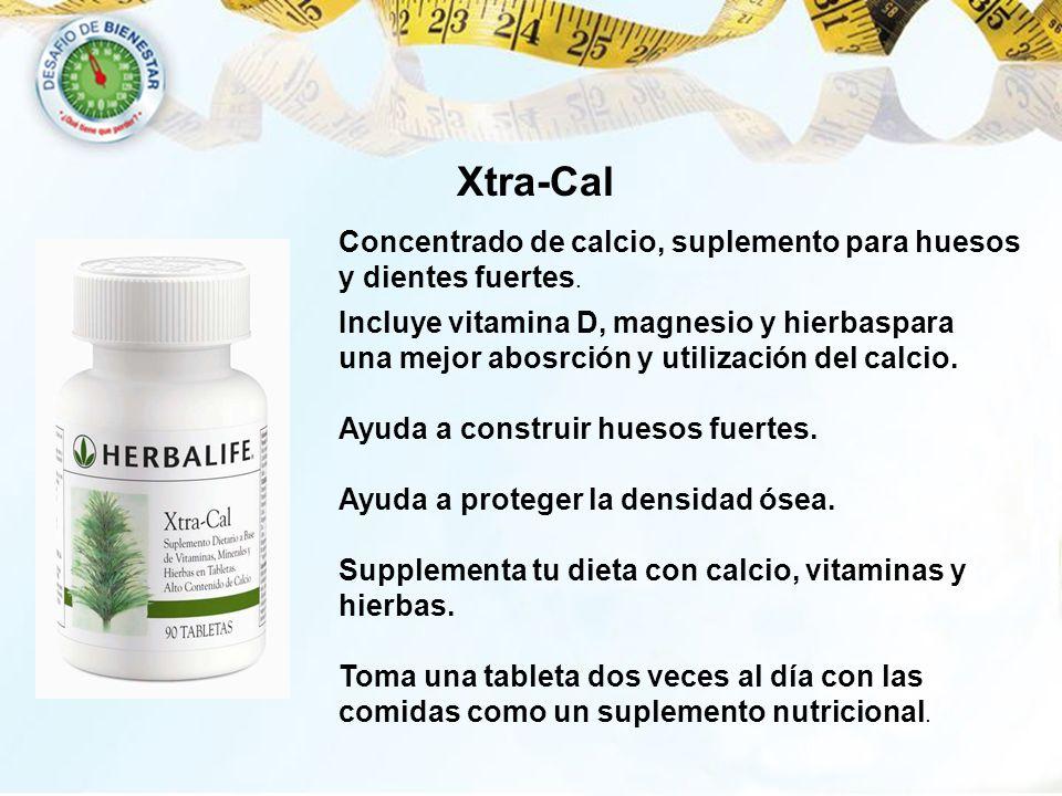 Xtra-Cal Incluye vitamina D, magnesio y hierbaspara una mejor abosrción y utilización del calcio. Ayuda a construir huesos fuertes. Ayuda a proteger l