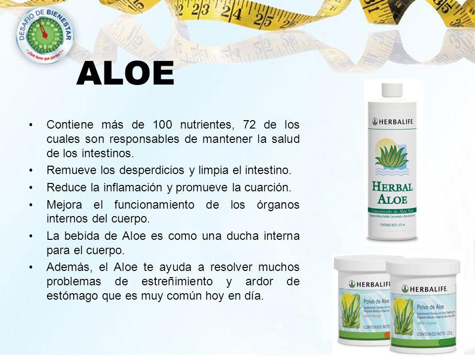 ALOE Contiene más de 100 nutrientes, 72 de los cuales son responsables de mantener la salud de los intestinos. Remueve los desperdicios y limpia el in