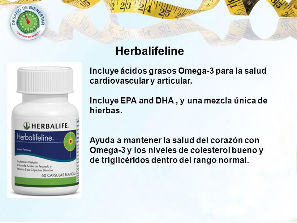 Herbalifeline Incluye ácidos grasos Omega-3 para la salud cardiovascular y articular. Incluye EPA and DHA, y una mezcla única de hierbas. Ayuda a mant
