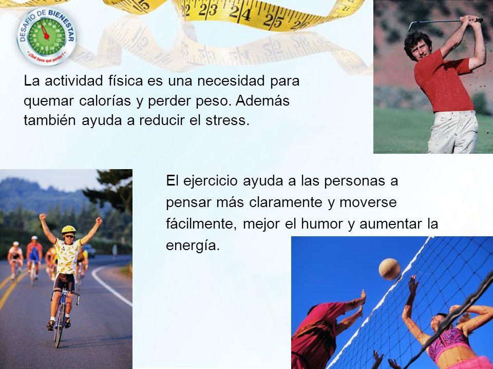La actividad física es una necesidad para quemar calorías y perder peso. Además también ayuda a reducir el stress. El ejercicio ayuda a las personas a