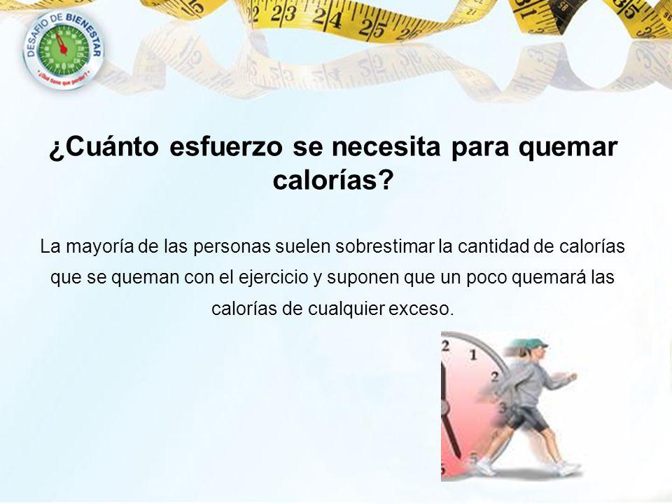 ¿Cuánto esfuerzo se necesita para quemar calorías? La mayoría de las personas suelen sobrestimar la cantidad de calorías que se queman con el ejercici