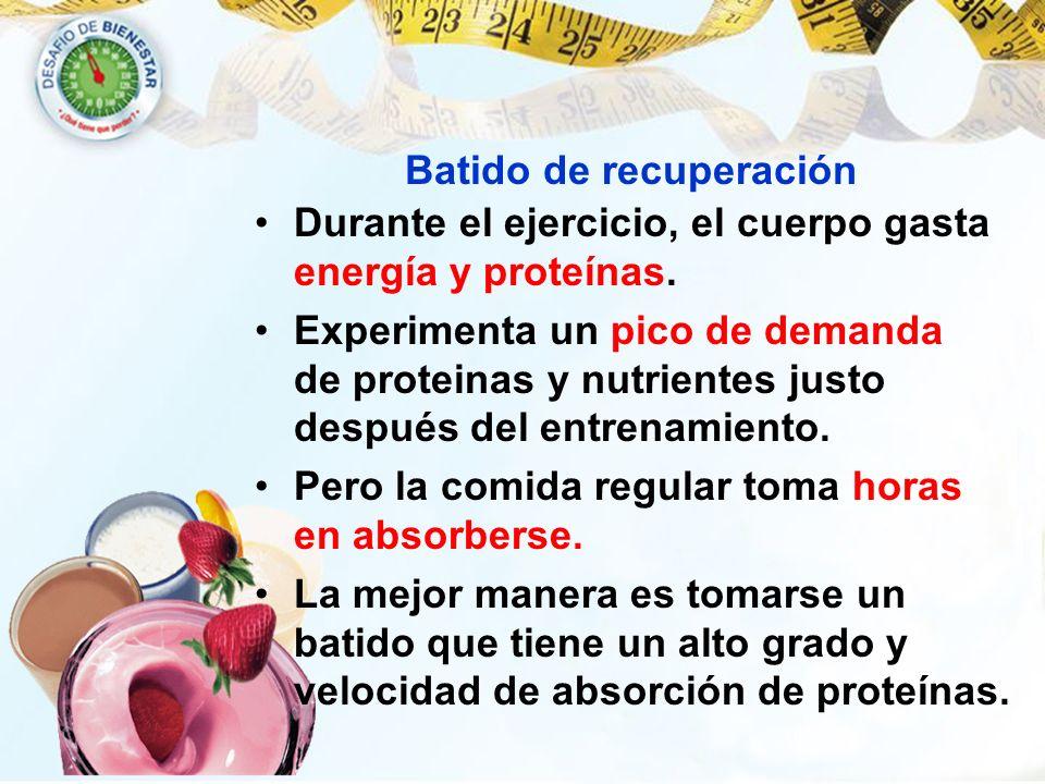 Batido de recuperación Durante el ejercicio, el cuerpo gasta energía y proteínas. Experimenta un pico de demanda de proteinas y nutrientes justo despu