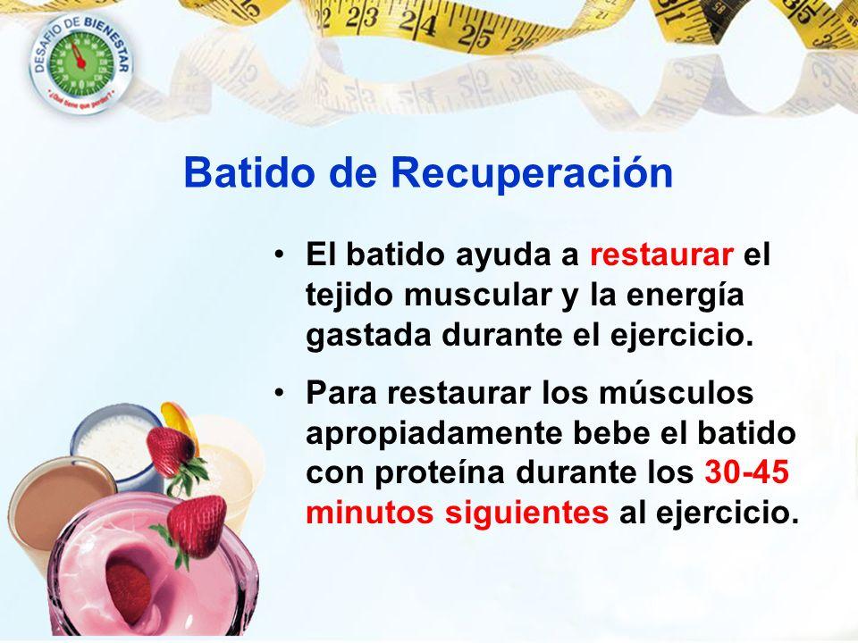El batido ayuda a restaurar el tejido muscular y la energía gastada durante el ejercicio. Para restaurar los músculos apropiadamente bebe el batido co