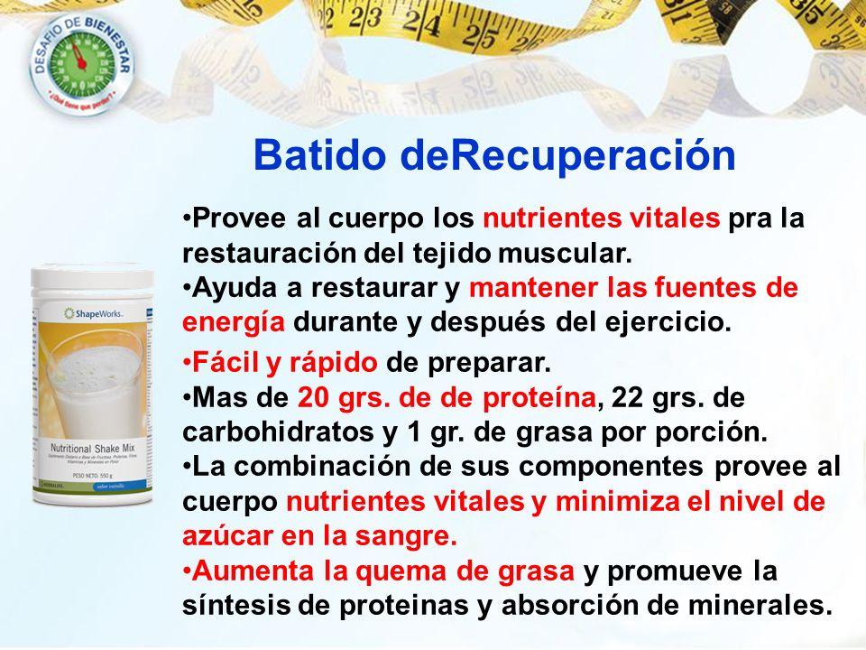 Provee al cuerpo los nutrientes vitales pra la restauración del tejido muscular. Ayuda a restaurar y mantener las fuentes de energía durante y después