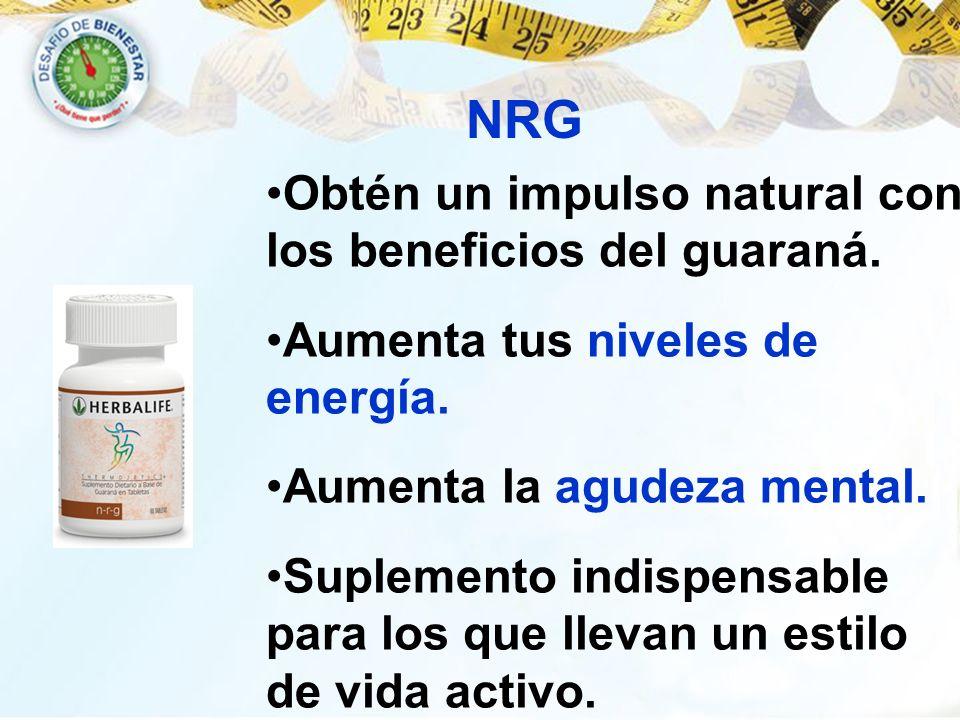 NRG Obtén un impulso natural con los beneficios del guaraná. Aumenta tus niveles de energía. Aumenta la agudeza mental. Suplemento indispensable para