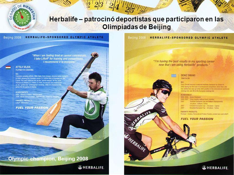 Herbalife – patrocinó deportistas que participaron en las Olimpiadas de Beijing Olympic champion, Beijing 2008