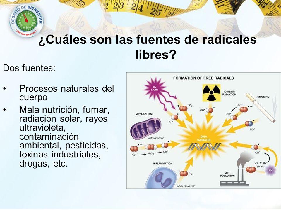 Dos fuentes: Procesos naturales del cuerpo Mala nutrición, fumar, radiación solar, rayos ultravioleta, contaminación ambiental, pesticidas, toxinas in