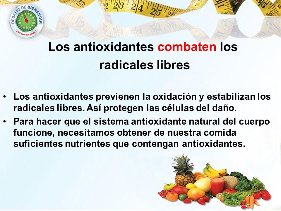 Los antioxidantes previenen la oxidación y estabilizan los radicales libres. Así protegen las células del daño. Para hacer que el sistema antioxidante