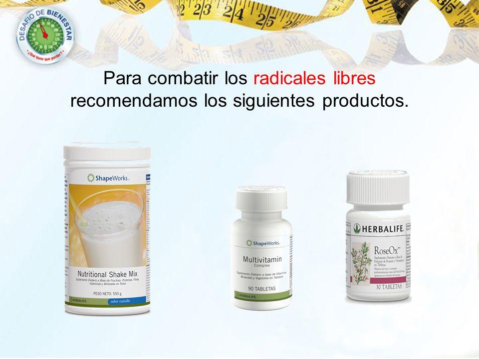 Para combatir los radicales libres recomendamos los siguientes productos.