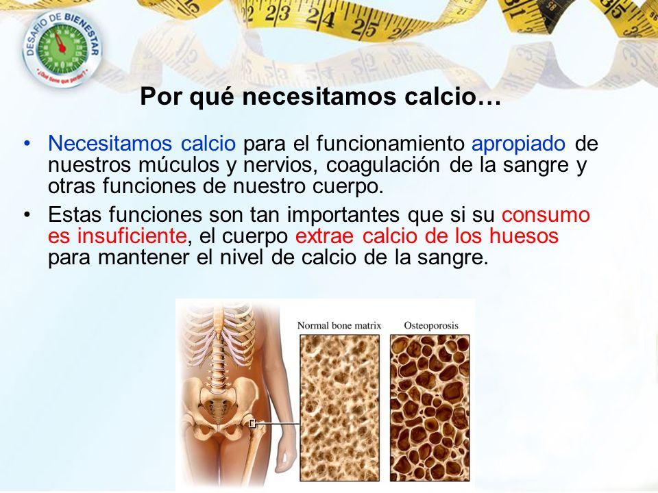 Necesitamos calcio para el funcionamiento apropiado de nuestros múculos y nervios, coagulación de la sangre y otras funciones de nuestro cuerpo. Estas