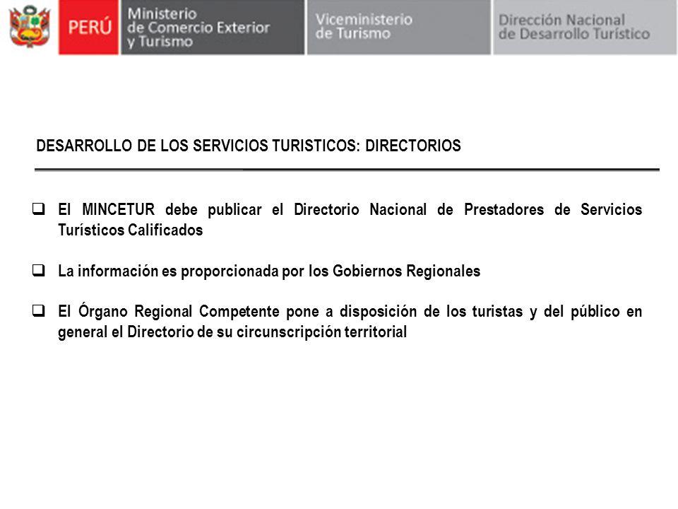 DESARROLLO DE LOS SERVICIOS TURISTICOS: DIRECTORIOS El MINCETUR debe publicar el Directorio Nacional de Prestadores de Servicios Turísticos Calificado