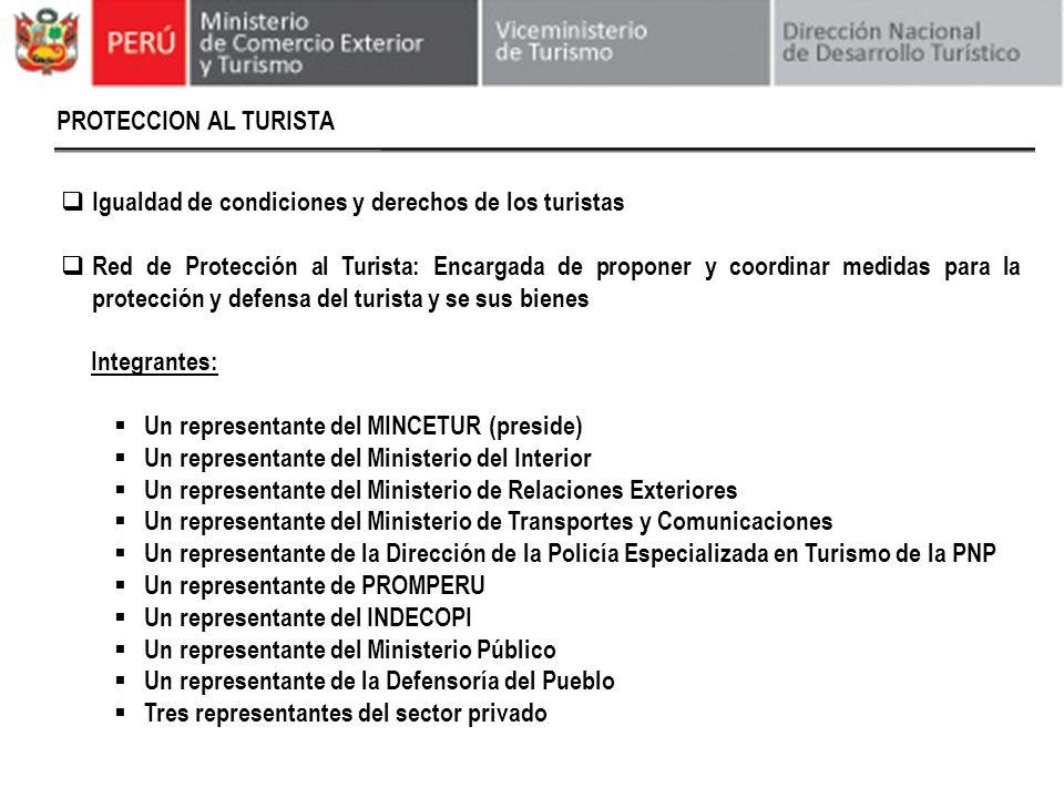 PROTECCION AL TURISTA Igualdad de condiciones y derechos de los turistas Red de Protección al Turista: Encargada de proponer y coordinar medidas para