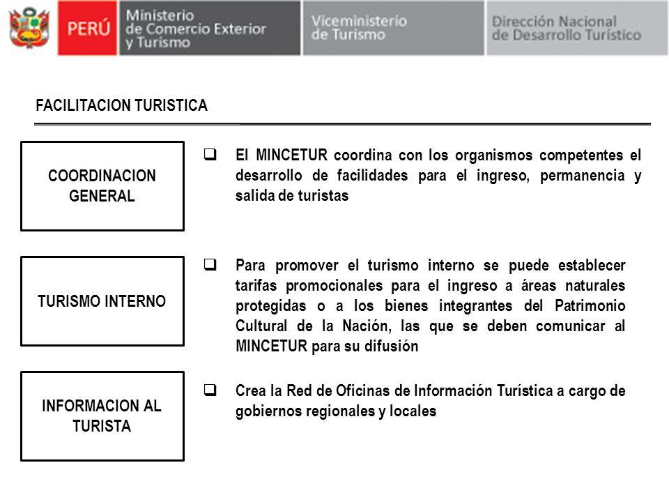 FACILITACION TURISTICA TURISMO INTERNO COORDINACION GENERAL El MINCETUR coordina con los organismos competentes el desarrollo de facilidades para el i