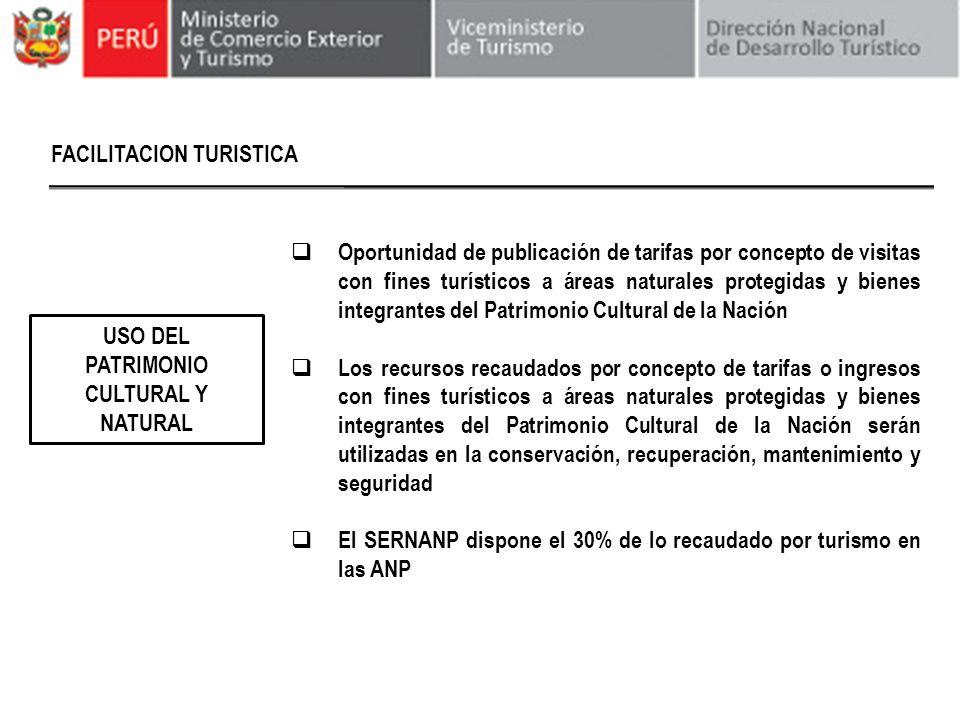 FACILITACION TURISTICA USO DEL PATRIMONIO CULTURAL Y NATURAL Oportunidad de publicación de tarifas por concepto de visitas con fines turísticos a área