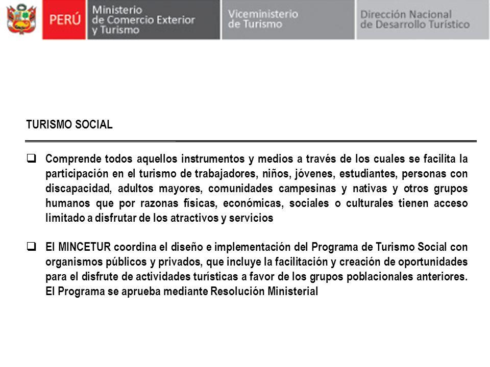 TURISMO SOCIAL Comprende todos aquellos instrumentos y medios a través de los cuales se facilita la participación en el turismo de trabajadores, niños