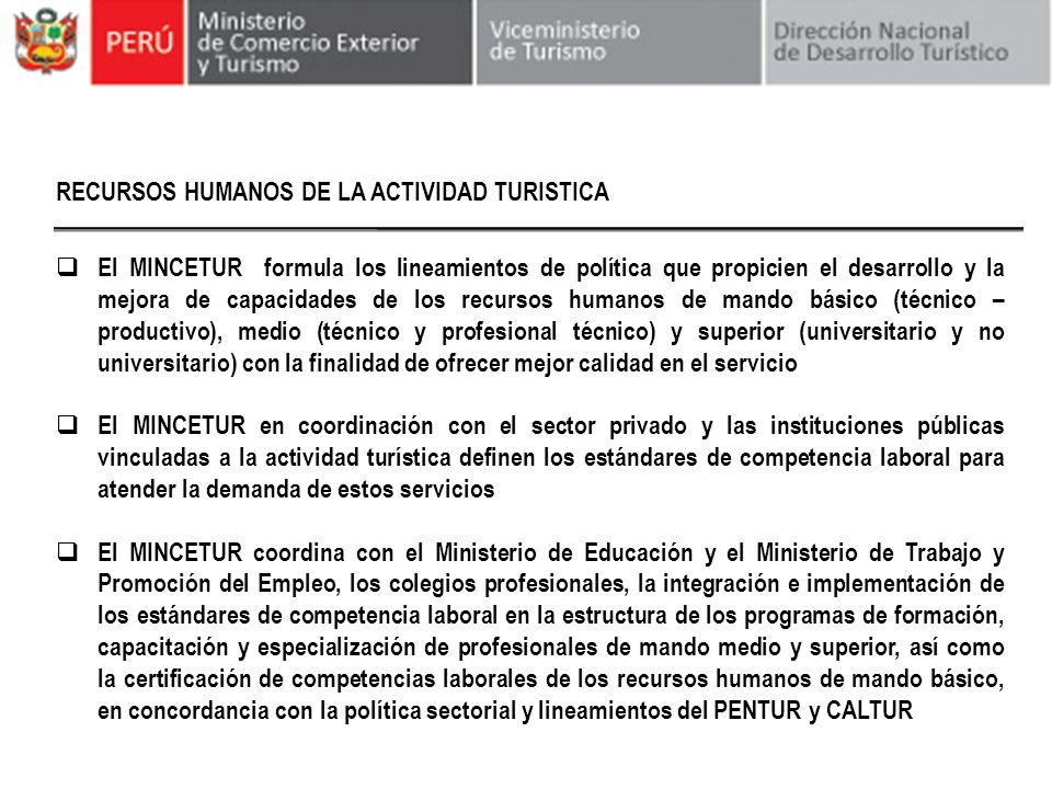 RECURSOS HUMANOS DE LA ACTIVIDAD TURISTICA El MINCETUR formula los lineamientos de política que propicien el desarrollo y la mejora de capacidades de