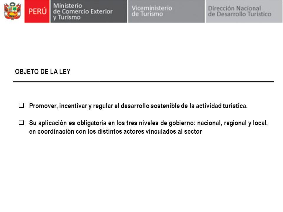 OBJETO DE LA LEY Promover, incentivar y regular el desarrollo sostenible de la actividad turística. Su aplicación es obligatoria en los tres niveles d